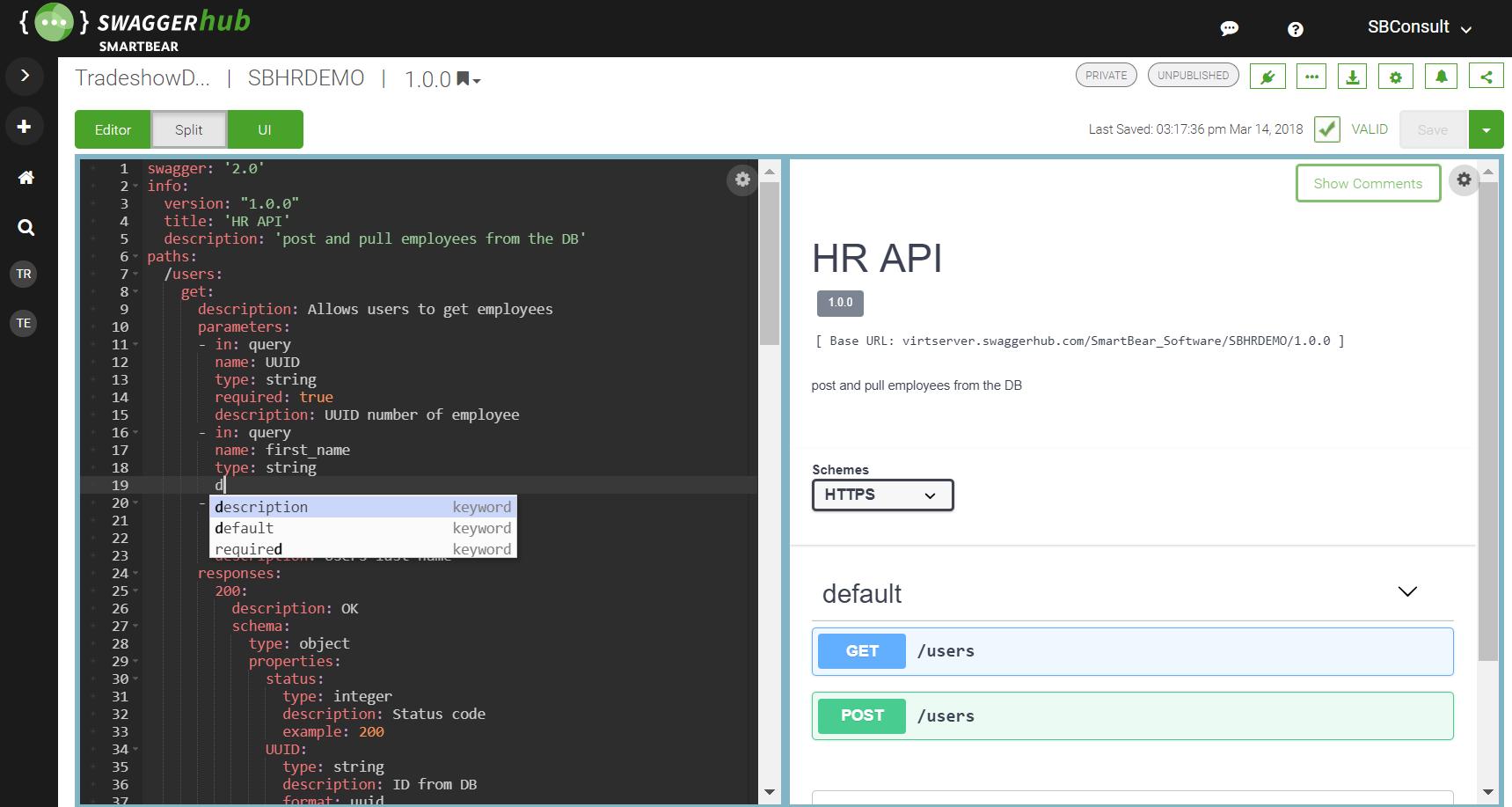 Swagger API designer