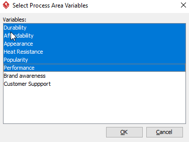 Select Process Area Variables