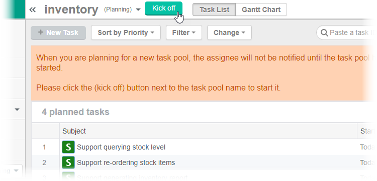 Kick-off Task Pool