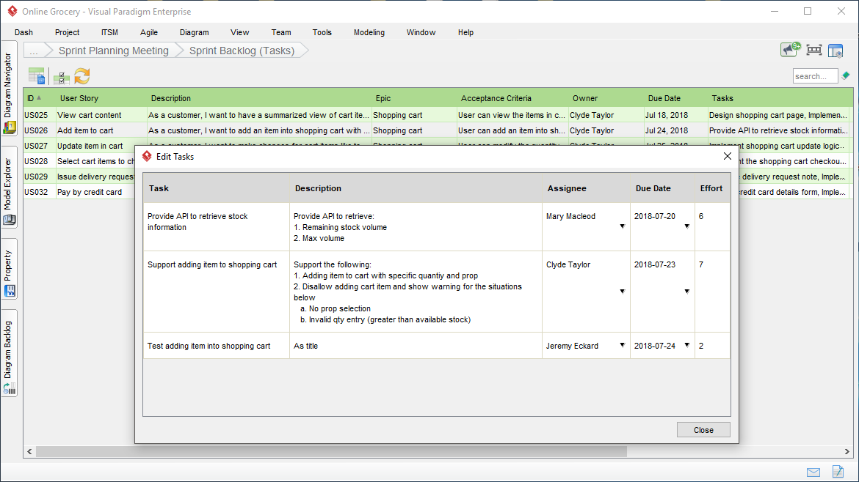 Managing User Story Tasks